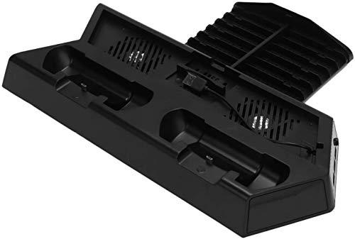 JIANGAA Juego Console Host multifunción Soporte Vertical Ventilador de refrigeración Joystick Caja de Almacenamiento para PS4 / PS4 Slim / PS4 Pro con luz indicadora