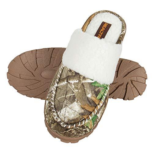 Realtree Women's Memory Foam Camo Clog House Slipper Indoor/Outdoor, Camo/Brown Scuff, Medium (7-8) Regular US