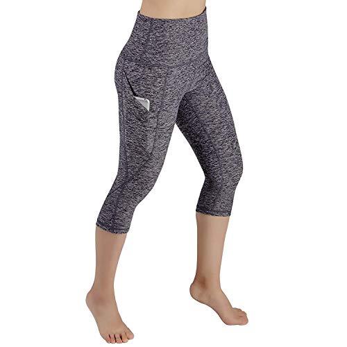 Leoneva Women Yoga Fitness Running Gym Stretch Sports Pants Trousers Leggings Pants Gray