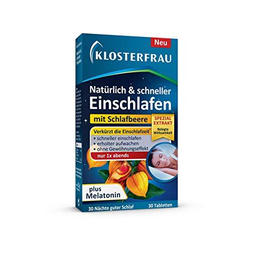 Klosterfrau Natürlich & schneller Einschlafen mit Schlafbeere und Melatonin | Vegan | Glutenfrei | Laktosefrei | 30 Tabletten