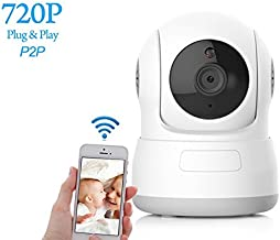 Dome Camera Pan/Tilt/Zoom Wi-Fi IP Indoor Security Surveillance System 720p HD Night Vision, Motion Tracker, Auto-Cruise, Remote Monitor with iOS, Android App
