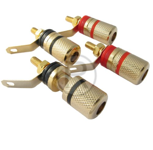 Speaker binding posts terminals connectors 2 red 2 black gold plated