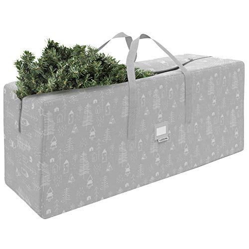 "CLOZZERS Christmas Tree Storage Bag - Measures 48 x 15 x 20"" for Trees up to 7 Feet Tall, Heavy Duty, Dust Protection and Water Resistant, Durable Zipper Closure and Sturdy Handles, Grey Village Print"
