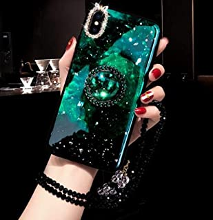 iPhone X/Xs Diamond Case,Aulzaju iPhone X Luxury Bling Beauty Ring Stand Case Soft Shiny Star Design Cute Creative Cover for iPhone Xs 5.8 Inch-Green