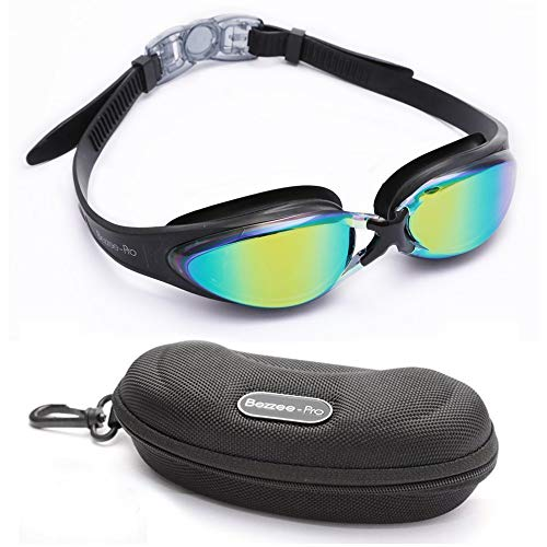 BEZZEE PRO Gafas de Natación - UV Protegido Lente de Color con Estuche de Almacenamiento y Correa de Silicona Ajustable para Adultos, Hombres, Mujeres y Niños Mayores de 10 Años