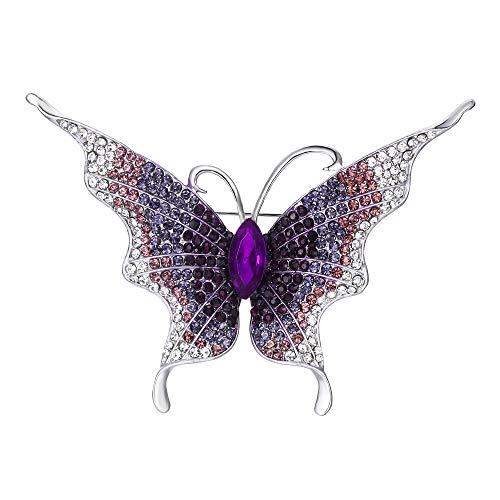Flyonce Broches Finas Mujer Serie de Animal - Mariposa Lágrima para Regalo Boda Fiesta Violeta Tono Plateado