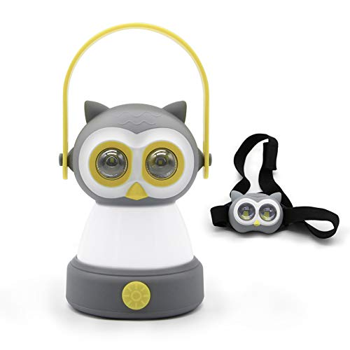 Outdoor Equipment LED Camping Lantern & Headlamp Set for Kids, Battery Powered Night Light for Emergency, Hurricane, Lightweight Tent Lamp - Owl
