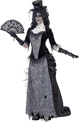 Smiffys-24575M Disfraz de Viuda Negra de Ghost Town, con Parte de Arriba, Falda y sombrer, Color Gris, M-EU Tamaño 40-42 (Smiffy'S 24575M)