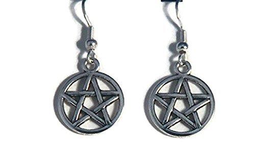 Pendientes Pentagrama, pendientes de pentáculo, pendientes de plata pagana Wicca