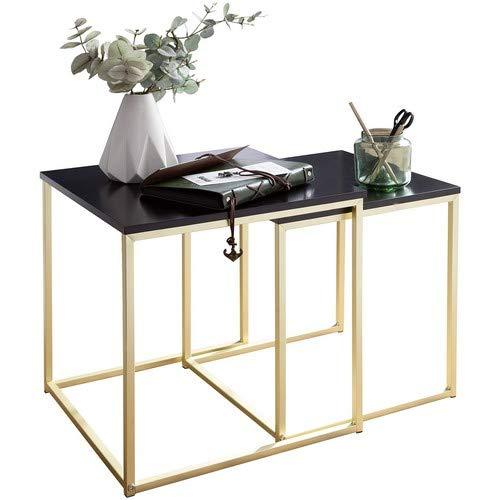 Wohnling Satztisch CALA Schwarz/Gold Beistelltisch MDF/Metall | Couchtisch Set aus 2 Tischen | Kleiner Wohnzimmertisch | Metalltisch mit Holzplatte | Ablagetisch modern