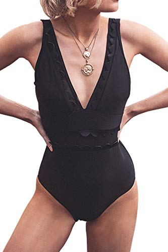 CUPSHE Women's Solid Black V Neck Mesh One Piece Swimsuit, XXL