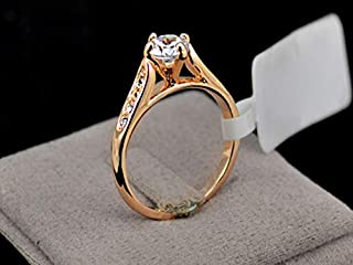 Ring for women Diamond Wedding 24K Gold Plated, Size 5.5