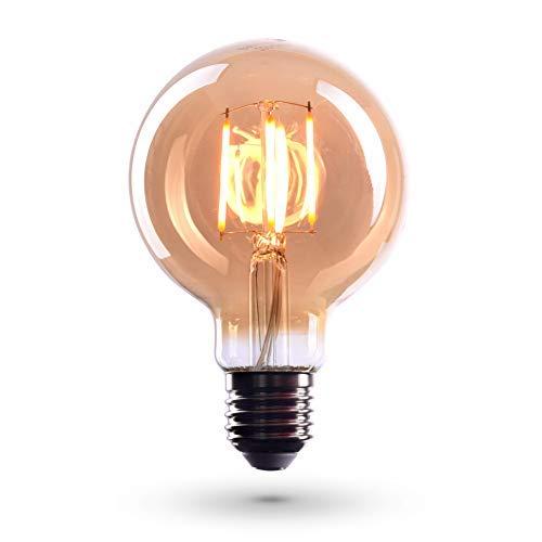 CROWN LED 6 x Edison Glühbirne E27 Fassung, Dimmbar, 4W, Warmweiß, 230V, EL04, Antike Filament Beleuchtung im Retro Vintage Look