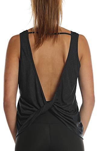icyzone Damen Tank Tops Rückenfrei - Sport Oberteil Yoga T-Shirt Casual Bluse Vest Ärmellose (XL, Black)