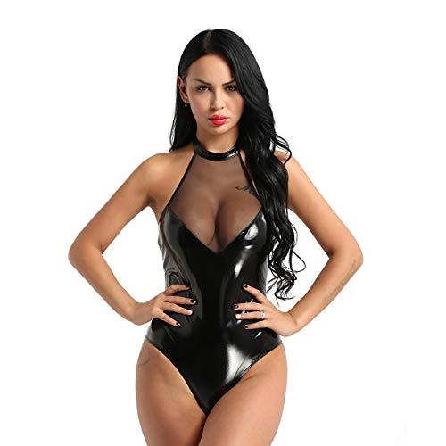 Freebily Body Donna Sexy Latex Schiena Scoperta Wetlook Catsuit Babydoll Cuoio Lingerie Sexy Hot Tute Sexy in Pelle PVC Vestito Discoteca Nero Clubwear Nero M