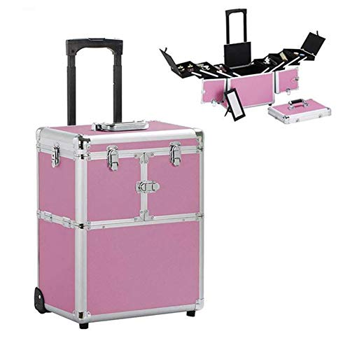 Boîte à Bijoux Mallette/Coffrets/Boîte à Maquillage, Bijoux et Cosmétique Beauty Case,Organisateur Cosmétique Avec Miroir,Pink