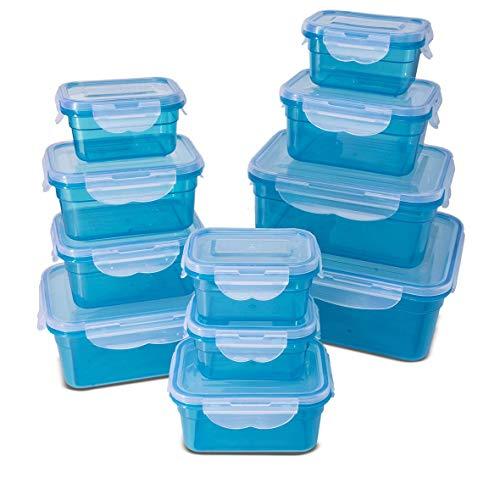 My Home Frischhaltedosen Klickverschluss, Luftdichte Aufbewahrungsboxen, 22 Teile, geeignet für Mikrowelle, Gefrierschrank und Spülmaschine, blau (Set von 11 Boxen - insgesamt 22 Stück)