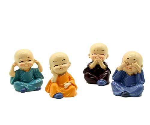 Creative Lovely Cute KongFu Monk Cake Topper, Dashboard Decorations Car Home Office Ornaments Best Birthday Holiday Gift(4 pcs)