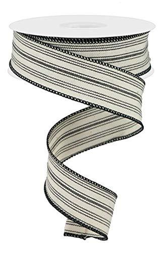 Ticking Stripe on Cotton Wired Edge Ribbon - 10 Yards (Black, Beige, 1.5 Inch)