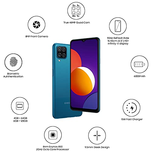 Samsung Galaxy M12 (Blue,6GB RAM, 128GB Storage) 6 Months Free Screen Replacement for Prime 2