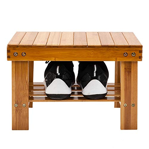 Simply-Me Bamboo Step Stool for Kids Lightweight Entryway Bench Storage Shelf Seat Stool Home or Office Multfunctional Foot Stool,Wood Color