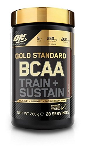 Optimum Nutrition ON Gold Standard BCAA Polvo, Suplementos Deportivos con Aminoacidos, Vitamina C y Magnesio para Musculation, Cola, 28 Porciones, 266g