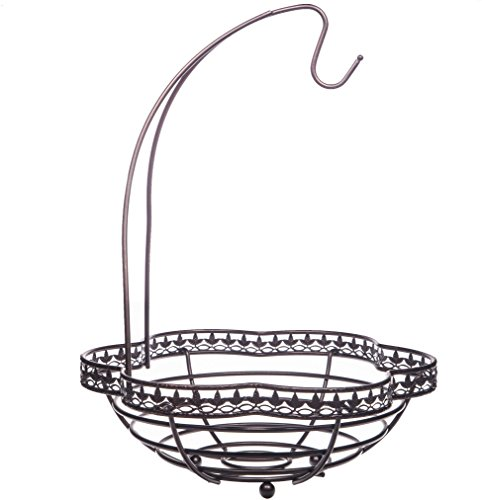 Home Essentials 12.40 inches x 12.40 inches x 16.54 inches Bronze Fleur De Lis Scallop Banana Holder with Basket Kitchenware