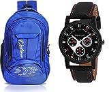 OPTIMA Stylish 13.6 inch Expandable Laptop Backpack with Free Analogue Black Stylish Watch