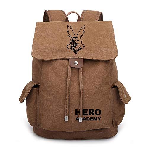 MAZF My Hero Academy Leinwand Blitzstrahl Port, P dunkel Kaffee schwarz Anime Cosplay Rucksack Daypack Schultasche Tasche