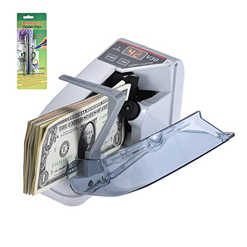 Aibecy Mini Portable Handy Bill Cash Banknote Counter Money Currency Counting Machine AC or Battery Powered (A)