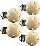 Premium Schnullerclips aus hochwertigem Holz schadstofffrei Nuckelclip Baby Clip, Farbe: natur, Anzahl:5 Stück Schnullerclip Nuckel-Clip Nippel Halter für Baby und Kind