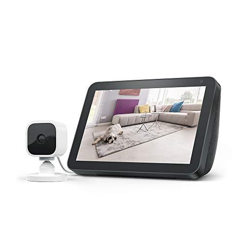 Echo Show 8, Tessuto antracite + Blink Mini videocamera, compatibile con Alexa