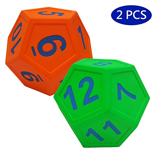Macro Giant 67 Inch Arabic Number Polyhedral Foam Dice 12Sided Jumbo Set of 2 Neon Green and Neon Orange Parenting Activity Kid Toy Preschool Math Learning Team Games