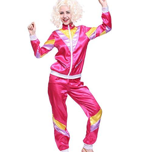 maboobie - Disfraz de ochentero en chndal para Mujer Color Rosa Disfraces de los aos 80 Deportiva Retro 80s (M) (M)
