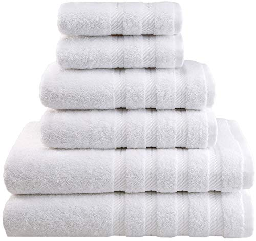 American Soft Linen 6-Piece 100% Turkish Genuine Cotton Premium & Luxury Towel Set for Bathroom & Kitchen, 2 Bath Towels, 2 Hand Towels & 2 Washcloths [Worth $72.95] - Snow White