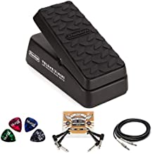 Jim Dunlop DVP4 Volume (X) Mini Pedal for Electric Guitars Bundle with Blucoil 2-Pack of 10-FT Straight Instrument Cables (1/4in), 2-Pack of Pedal Patch Cables, and 4-Pack of Celluloid Guitar Picks