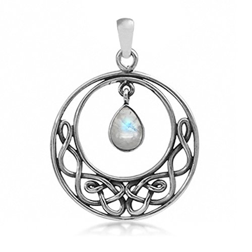 Silvershake Natural Moonstone 925 Sterling Silver Celtic Knot Drop Dangle Pendant