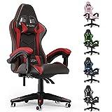Sedia Gaming, Sedia Girevole ergonomica, PU Poltrona Racing Nero e Bianco(Bianca) (Rosso)