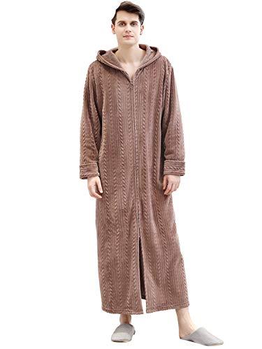Honour Fashion 着る毛布 メンズ レディース ロング フード付き ルームウェア パジャマ 着るブランケット もこもこ あったか 防寒 ブラウン XL