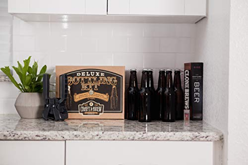 Product Image 6: Deluxe Bottling Kit – Craft a Brew Homebrew Bottler Equipment – Home Brewing Easy Bottling Set – 10 Empty 12oz. Amber Glass Bottles – 30+ Caps – 1 Capper