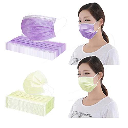 Medizinischer Mundbedeckung Atmungsaktive Staubschutz Mundschutz Staubschutz Einweg 3-Lagig Gesichtsschutzschicht Multifunktionstuch Mund Nasen Schutz Tuch Bandana Mit Ohrschlaufen Bunt(20pcs) (Lila)