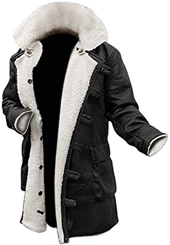 III-Fashions Tom Hardy Dark Knight Rises Bane Faux Fur Shearling Black Leather trench Swedish Bomber Jacket Sheepskin Coat