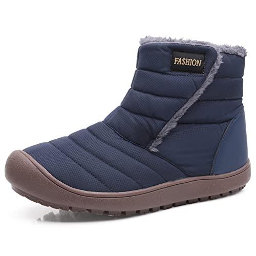 Hailong 女性用スノーブーツウィンターシューズファー裏地付きウォームスリップオンブーツ女性用防水ブーツ快適な屋外滑り止めシューズ (Color : Blue, Size : EU:42/US:10)