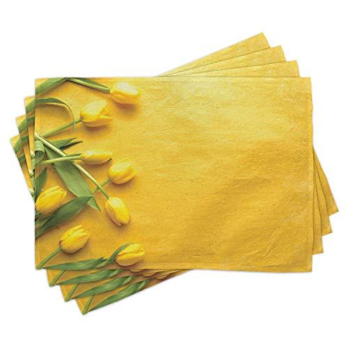 ABAKUHAUS Amarillo Salvamantel Set de 4 Unidades, Tulipán del jardín de Flores, Material Lavable Estampado Decoración de Mesa Cocina, Amarillo Verde