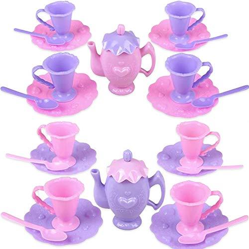 ArtCreativity Juego de 13 mini juguetes para fiestas de té para niñas pequeñas, juego de 2, cada juego de té de juguete con 4 platos, 4 cucharas, 4 tazas y 1 tetera, juguetes...