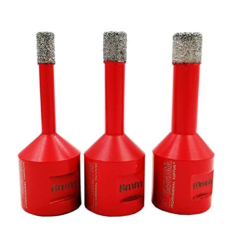 SHDIATOOL Diamant Bohrkronen Set Vakuumgelötete für Porzellan Fliese Granit Marmor Trockenbohren(Durchmesser 6/8/10mm)