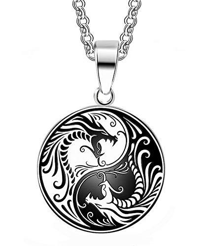Halskette mit Anhänger Drache, Yin und Yang, Weiß und Schwarz, Kette 50 cm