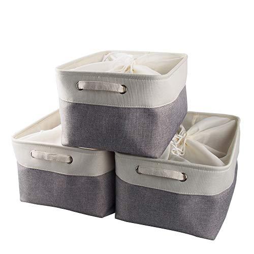 Mangata groß Canvas-Aufbewahrungsbox, Stoff-Aufbewahrungskorb mit Griffen für Schränke, Regale, Kleidung, Spielzeug (3 Stück, faltbar, grau weiß)