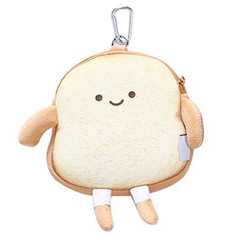 Y-POWER Toast Brot Plüsch Nieten Reißverschluss Münzbörse Kartenhalter Kopfhörer Lippenstift Tasche für Mädchen