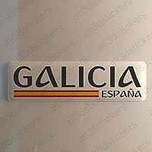 Pegatina Galicia España Resina, Pegatina Relieve 3D Bandera Galicia España 120x30mm Adhesivo Vinilo